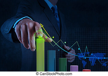 businessman hand working with virtual chart business on touch screen computer as concept