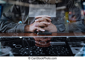 """businessman hands using digital pro tablet and smart phone with """"Secure payment"""" on the screen as Online shopping concept"""