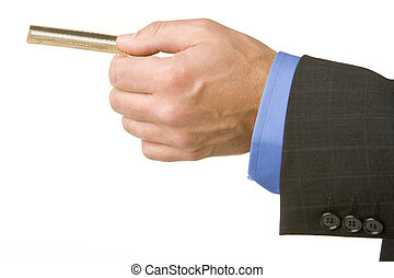 Businessman Holding A Gold Credit Card
