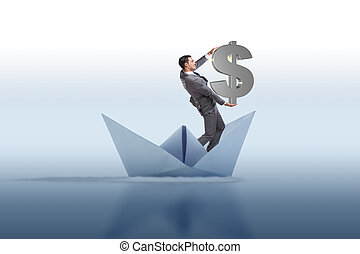 Businessman holding dollar riding paper ship boat