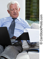 Businessman in home