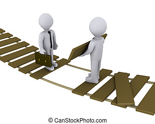 3d businessman is helping another to cross a damaged bridge