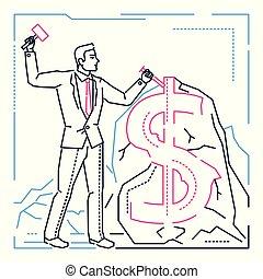 Businessman making money - line design style illustration