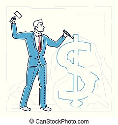 Businessman making money - line design style isolated illustration