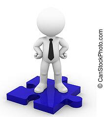Businessman on puzzle piece