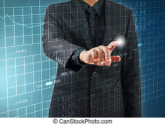 businessman press stock exchange chart