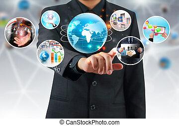 businessman press Successful business