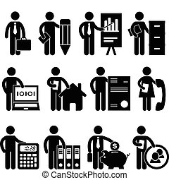 A set of office job for business worker and employee in pictogram.