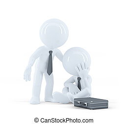 Businessman provides support to a colleague. Problems at work concept