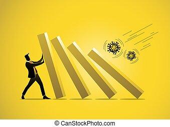 Businessman pushing bar graph falling in economic collapse