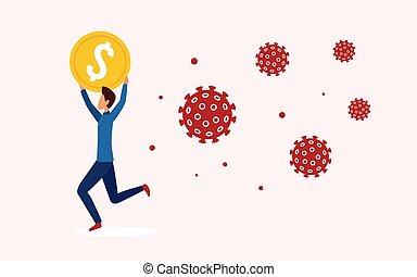 Businessman runs away from coronavirus, holding gold coin