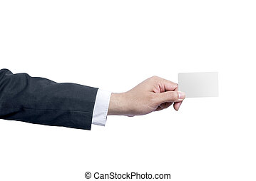 Businessman showing an empty card with his hand