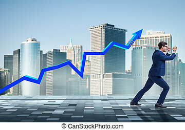 Businessman supporting increase in economy