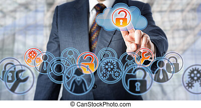 Businessman Unlocking Access To Managed Services