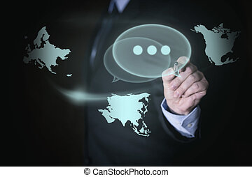 Businessman with concept global networking