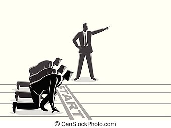 Business concept illustration of a businessman with pointed hand ordering his subordinate to start running