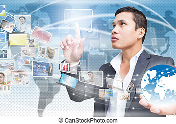 Businessman With Technology