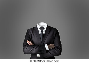 businessman without head crossed arms grey background