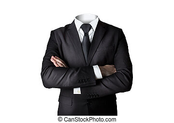 businessman without head isolated crossed arms