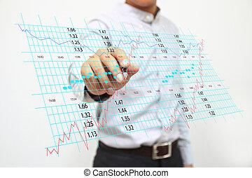 Businessman writing stock exchange chart.