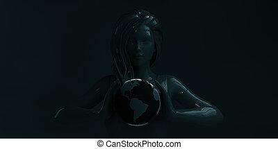 Businesswoman Holding Globe