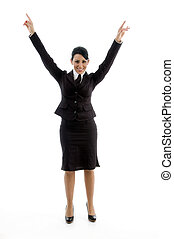 businesswoman stretching her arms