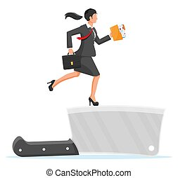 Businesswoman walking on edge of knife with suitcase and folder. Business woman walking on razor blade. Obstacle on road, financial crisis. Risk management challenge. Vector illustration in flat style