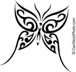 Buterfly tribal vector tattoo