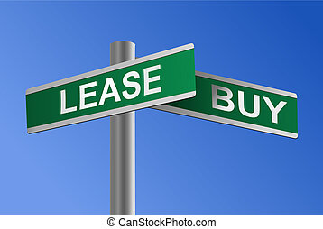 Vector illustration of a crossroads with LEASE and BUY street signs. Concept for making a financial decision about whether to buy or lease a house, a car, a business property or any other asset.