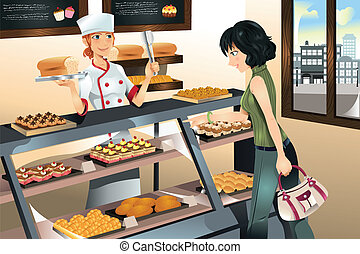 A vector illustration of a woman buying cake at a bakery store