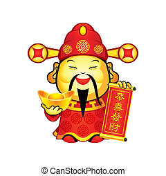 Cai Shen, the Chinese god of Prosperity, a popular New Year symbol