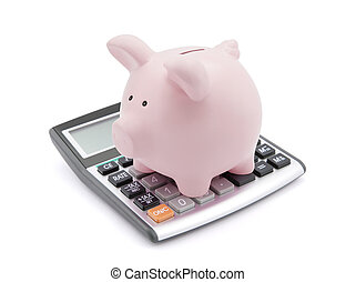 Calculating savings. Piggy bank on calculator over white background.