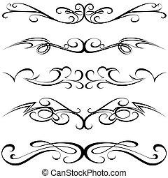 Calligraphic elements - black Tattoo, illustration vector