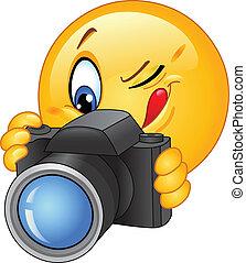 Emoticon taking a photo
