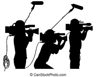 Cameraman at work silhouettes side view