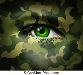 Military camouflage on a human face with a close up of the green eye gazing and looking representing war tactics and battle strategy in an army or business situation.