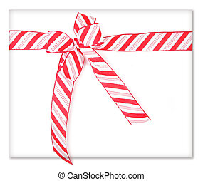 Candy Cane Ribbon Wrapped Present