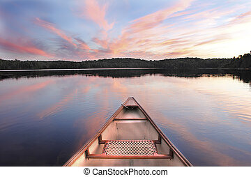 Canoe Bow on a Lake at Sunset - Ontario, Canada