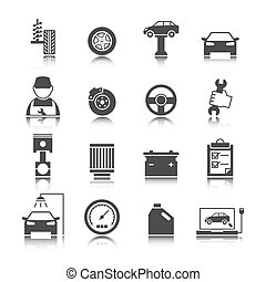 Car auto service icons set of mechanic maintenance engine repair and garage isolated vector illustration