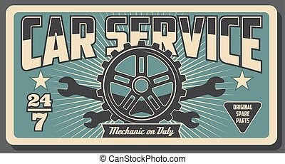 Car engine gear with spanner. Auto repair service