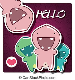 Card with cute little monsters