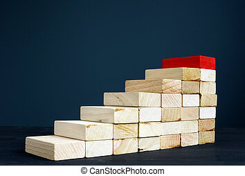 Career ladder or path concept. Wooden stairs as symbol success in business.