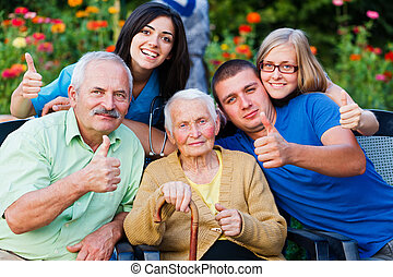 Carer and Family Thumbs up