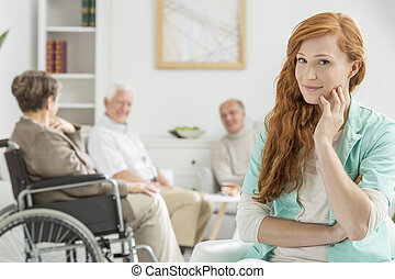 Carer in nursing home