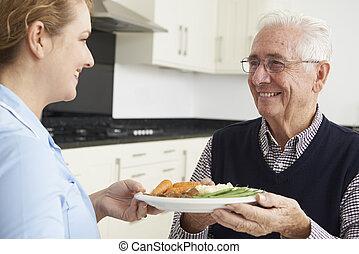 Carer Serving Lunch To Senior Man
