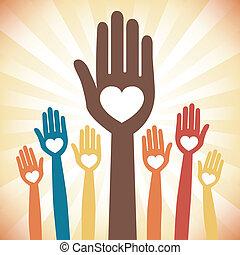 Caring loving hands design.