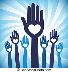 Caring loving hands design with a swirling sunburst background.