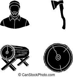 Carpenter, log on supports, ax, cut logs. Sawmill and timber set collection icons in black style vector symbol stock illustration web.