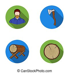 Carpenter, log on supports, ax, cut logs. Sawmill and timber set collection icons in flat style raster, bitmap symbol stock illustration web.