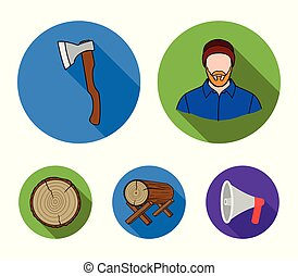 Carpenter, log on supports, ax, cut logs. Sawmill and timber set collection icons in flat style vector symbol stock illustration web.